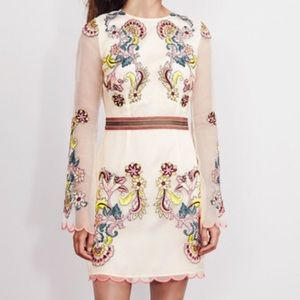 NEW! Boden Embroidered Organza Mini Dress Sleeves